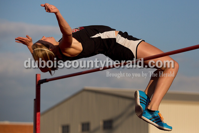 Southridge's Aubrey Main leapt in the high jump during Thursday night's Southridge Invitational in Huntingburg. Southridge finished first (141), Heritage Hills finished second (137) and Northeast Dubois finished fourth (66) out of seven teams.