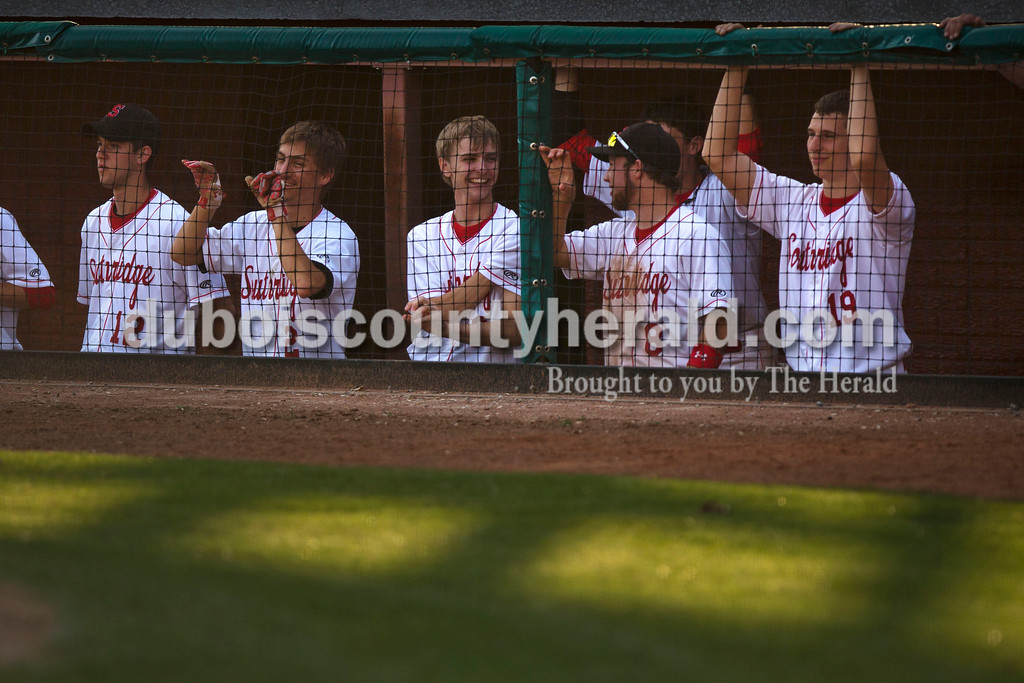 Southridge's Harrison Steckler, Andrew Recker, Luke Stetter, Connor Craig and Brett Nordhoff watched the game from the dugout during Wednesday night's game against Tecumseh at League Stadium in Huntingburg. The Raiders won 6-1. <br /> Alisha Jucevic/The Herald