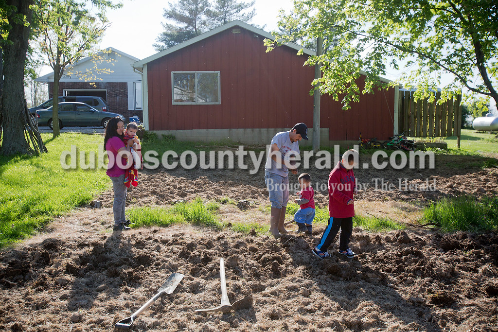 Rachel Mummey/The Herald<br /> Rosa Mejia, left, held 3-month-old Javier as her husband Jose Sandoval taught their sons Alvin, 2, and Kevin, 6, how to plant beans in the garden of their Huntingburg home on Tuesday evening. It was the first year planting a garden since they had recently purchased the house and moved in January.
