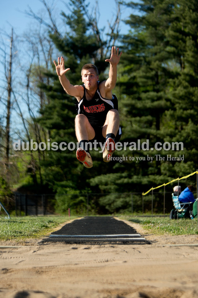 Southridge's Henry Steckler did the long jump at Tuesday evening's track meet at Northeast Dubois. The Jeeps placed first with 180 points, the Rangers second with 120 points and Southridge fourth with 72 points. Ariana van den Akker/The Herald
