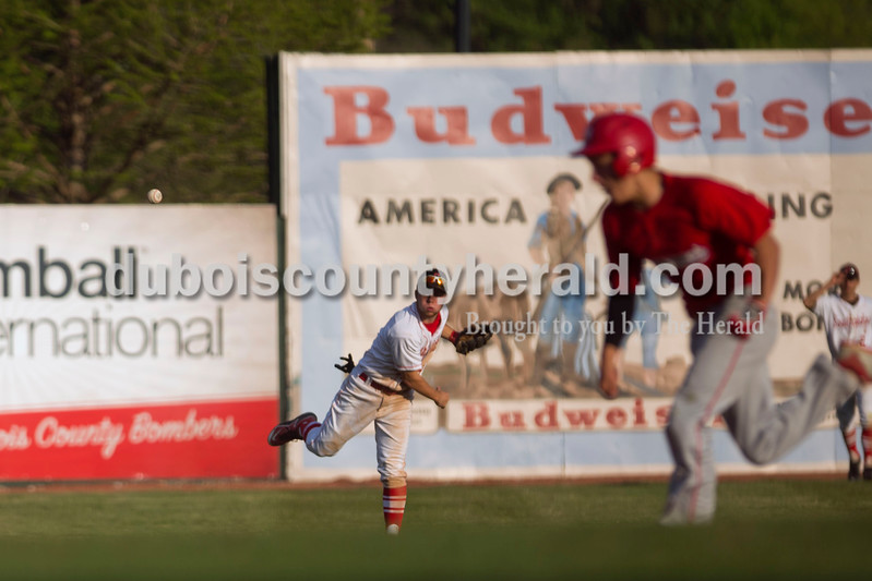 Southridge's Connor Craig fielded the ball to third base during Wednesday night's game against Tecumseh at League Stadium in Huntingburg. The Raiders won 6-1. <br /> Alisha Jucevic/The Herald