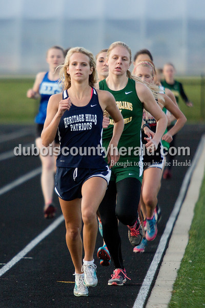 Heritage Hills' Sienna Crews led the pack in the 1600-yard race during Thursday night's Southridge Invitational in Huntingburg. Southridge finished first (141), Heritage Hills finished second (137) and Northeast Dubois finished fourth (66) out of seven teams.
