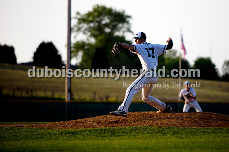 Forest Park's Ben Wendhold pitched during Friday evening's game against Gibson Southern in Ferdinand. The Rangers won 12-2 in six innings. Ariana van den Akker/The Herald