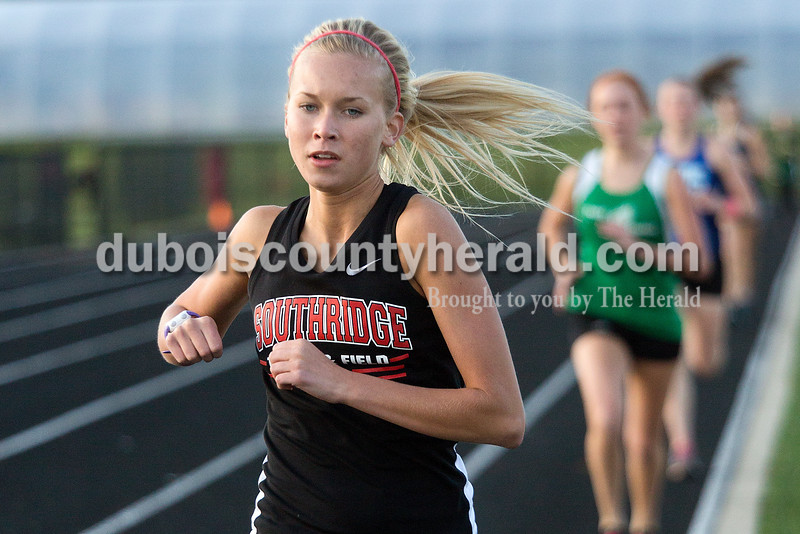 Southridge's Casey Lamb ran in the 1600-meter race during Thursday night's Southridge Invitational in Huntingburg. Southridge finished first (141), Heritage Hills finished second (137) and Northeast Dubois finished fourth (66) out of seven teams.
