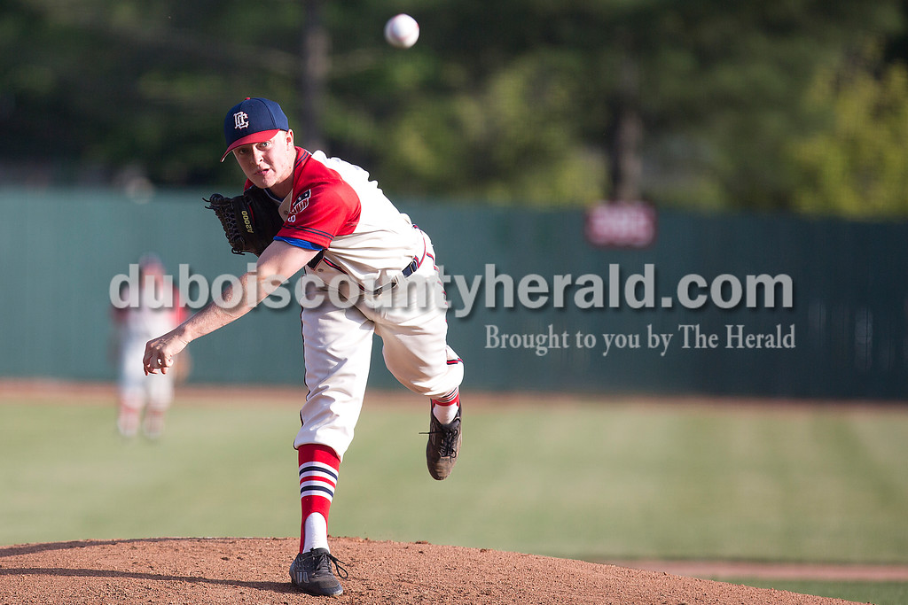 Dubois County Bombers' Willie Poe pitched during Wednesday night's game against Owensboro Oilers at League Stadium in Huntingburg. The Bombers won 10-1. Rachel Mummey/The Herald