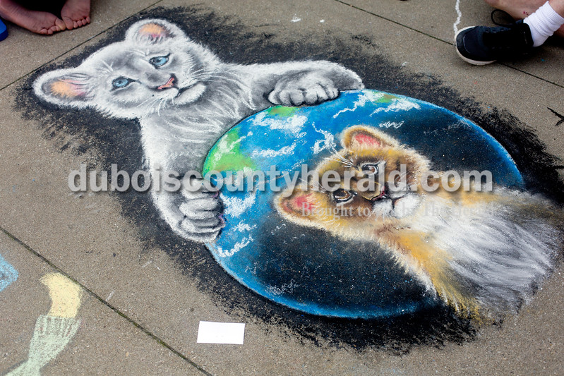 Ariana van den Akker/The Herald<br /> A drawing by Cassidy Schwenk of Jasper at the 12th annual Chalk Walk Arts festival in downtown Jasper on Saturday.