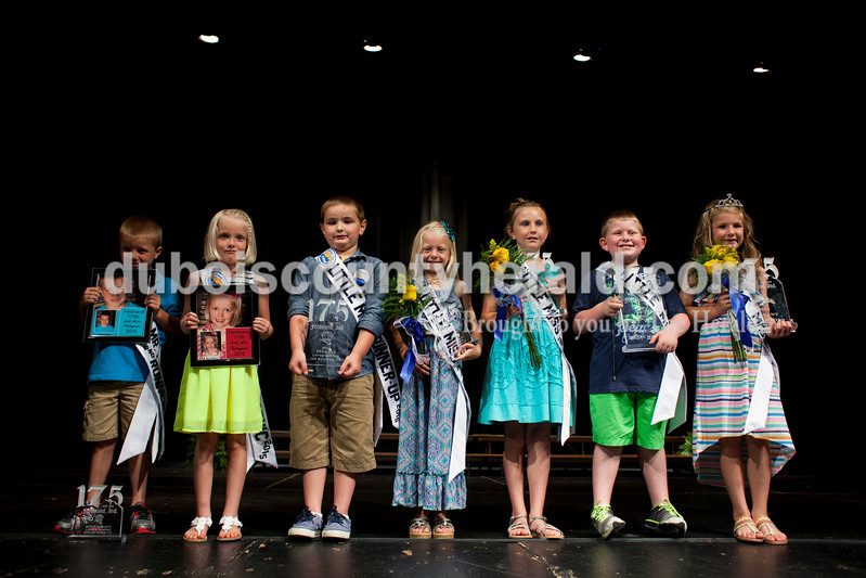 Little Mister Photogenic and second runner-up Layton Lubbehusen, 6, Little Miss Photogenic Kenley Schipp, 5, Little Mister first runner-up Lance Boeglin, 6, Little Miss second runner-up Riley Hinson, 7, Little Miss runner-up Olivia Bell, 8, Little Mister Logan Fischer, 7, and  Little Miss Bailey Anderson, 7, all of Ferdinand, posed for a photo on Sunday afternoon at the Ferdinand  175th Little Miss and Mister Pageant in the auditorium at Forest Park High School in Ferdinand. <br /> <br /> Alisha Jucevic/The Herald