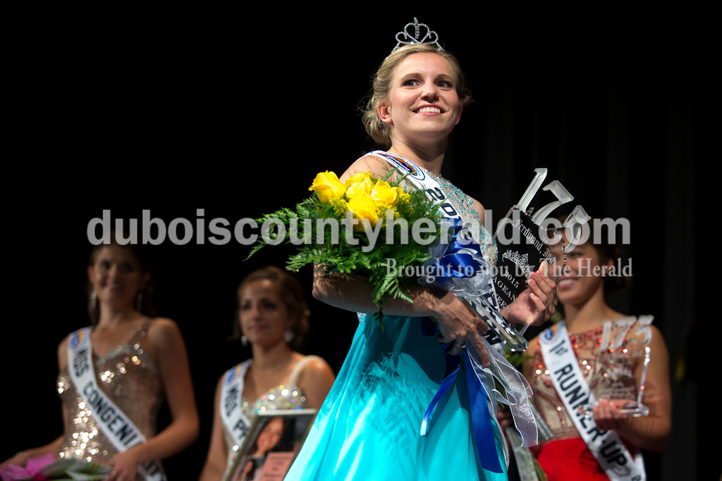 Miss Ferdinand 175, Kayla Hoffman of Ferdinand, 18, walked across the stage after being crowned during the Ferdinand 175th Queen Pageant on Sunday evening in the auditorium at Forest Park High School in Ferdinand. <br /> <br /> Alisha Jucevic/The Herald