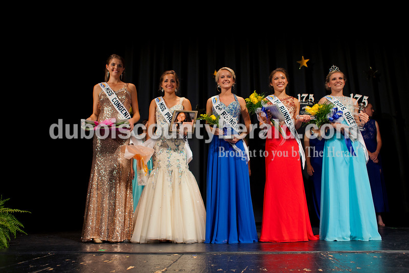 Miss Congeniality Claire Mohr, 18, Miss Photogenic Emily Nord, 16, second runner-up Gabrielle Hoffman, 17, first runner-up Lauren Tretter, 16, and Miss Ferdinand 175th Kayla Hoffman, 18, all of Ferdinand, posed for a photo at the Ferdinand 175 Queen Pageant on Sunday evening in the auditorium at Forest Park High School in Ferdinand. <br /> <br /> Alisha Jucevic/The Herald