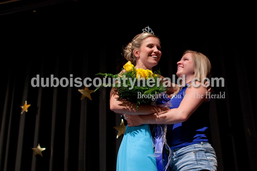 Miss Ferdinand 175th Kayla Hoffman of Ferdinand, 18,  hugged her cousin Brittany Daunhauer of Ferdinand after the Ferdinand 175 Queen Pageant on Sunday evening in the auditorium at Forest Park High School in Ferdinand. <br /> <br /> Alisha Jucevic/The Herald