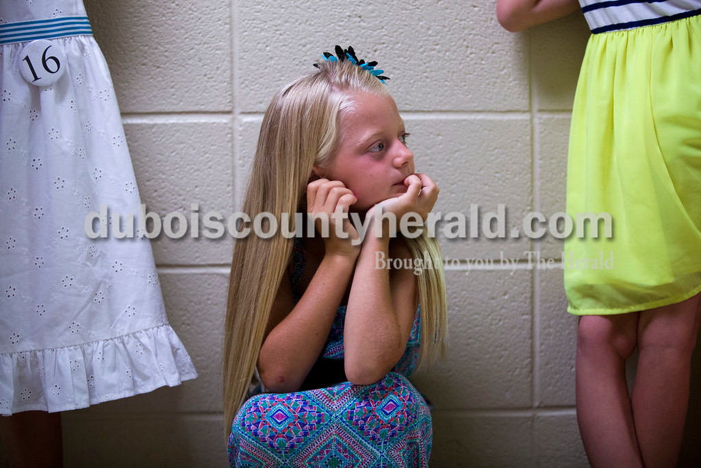 Little Miss second runner-up Riley Hinson, 7, waited for the pageant to begin on Sunday afternoon at the Ferdinand 175th Little Miss and Mister Pageant in the auditorium at Forest Park High School in Ferdinand. <br /> <br /> Alisha Jucevic/The Herald