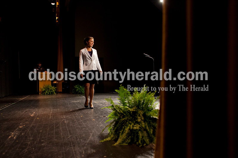 First runner-up Lauren Tretter of Ferdinand, 16, walked across the stage during introductions at the Ferdinand 175 Queen Pageant on Sunday evening in the auditorium at Forest Park High School in Ferdinand. <br /> <br /> Alisha Jucevic/The Herald