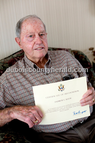 Ariana van den Akker/The Herald<br /> Andy Klem of St. Anthony held a certificate of recognition for serving int the U.S. Army while he sat for a portrait at his home on Thursday. Klem served in World War II.
