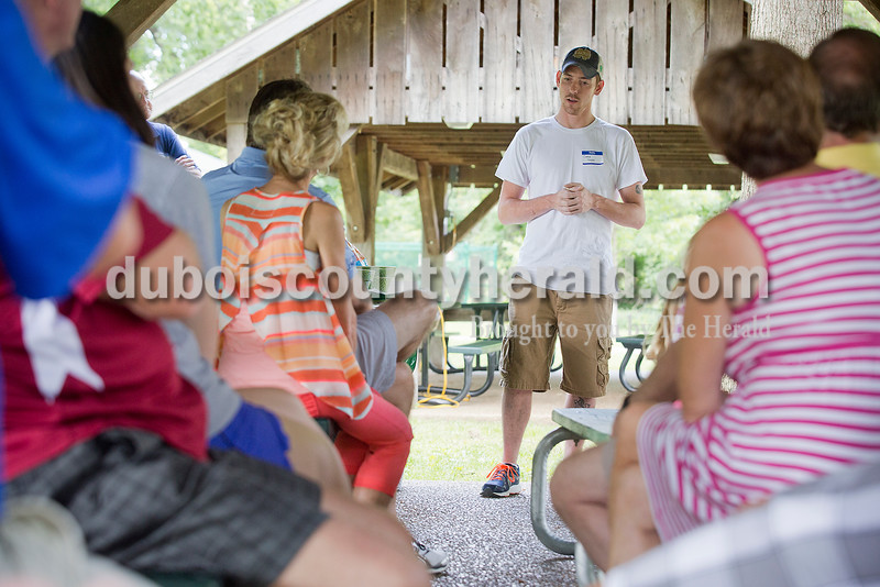 Corey Turpin gave his testimony during a picnic for Churches Embracing Offenders at Dave Buehler Plaza on the Jasper Riverwalk on June 13. The new program connects churches and offenders with the goal of reducing recidivism rates. Rachel Mummey/The Herald