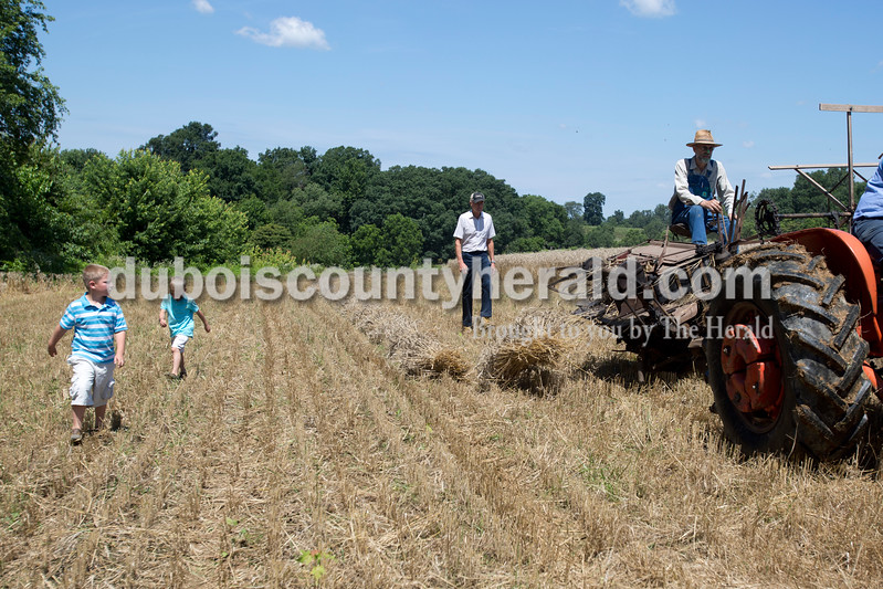 Erica Lafser/The Herald<br /> Christopher Verkamp of Schnellville, 7, left, walked with his brother Patrick Verkamp of Schnellville, 6, middle, and Charlie Verkamp of Schnellville, right, during the Schnellville Sesquicentennial wheat threshing on Sunday at the field outside of the Schnellville Community Club. This event occurs every 25 years.