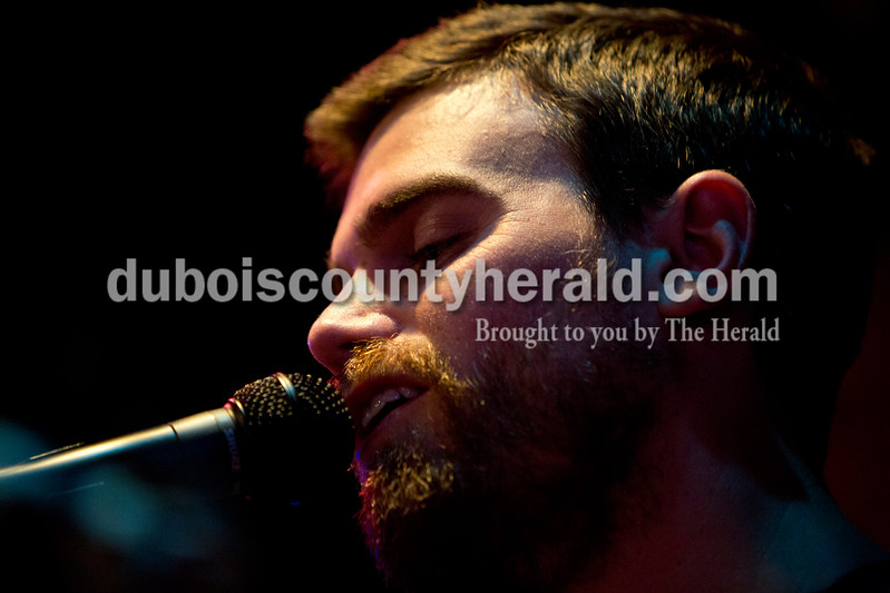 Ariana van den Akker/The Herald<br /> Steven Wagler of Jasper sang while performing at open mic night at the Gaslight in Huntingburg on Thursday. The Gaslight will be celebrating its 45th anniversary this Friday.