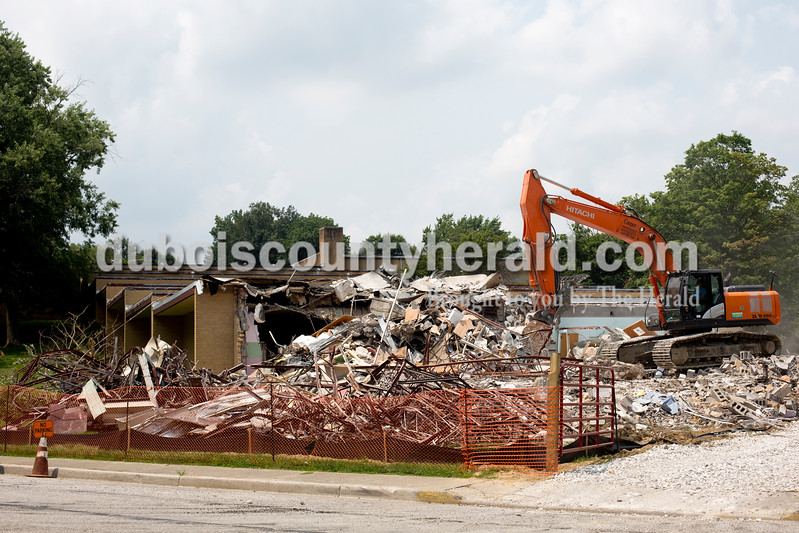 Ariana van den Akker/The Herald<br /> The former Maple Park School in Huntingburg, photographed on Monday, is in the process of being demolished by Huntingburg-based Cooper Rail Service, Inc.