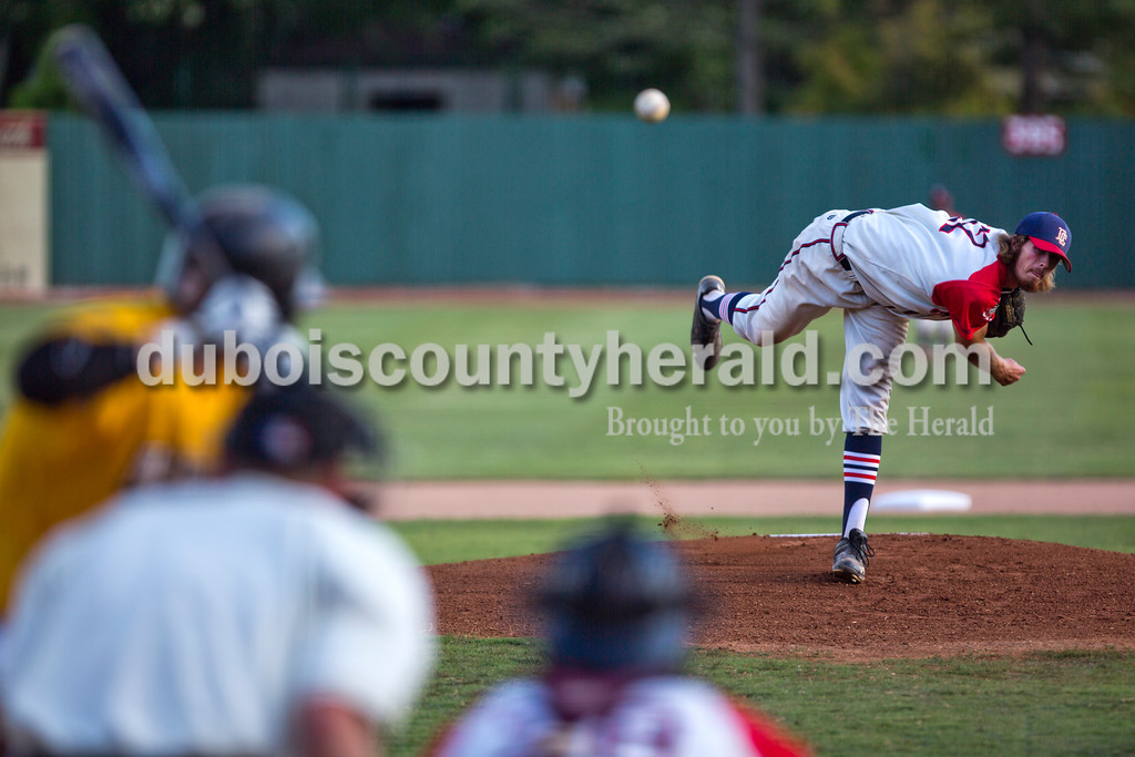 Dubois County Bombers' Devin Williams pitched during Game 3 of the Ohio Valley League championship series against the Madisonville Miners on Friday night at League Stadium in Huntingburg. The Bombers defeated the Miners 3-2. <br /> Alisha Jucevic/The Herald
