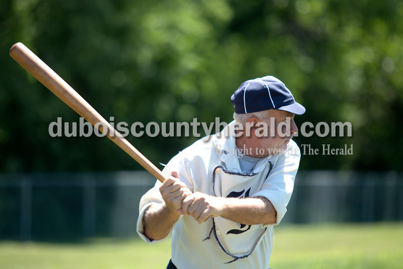 """Erica Lafser/The Herald<br /> Indianapolis Blues' Mike McKitrick of Jasper batted during the vintage baseball game, baseball as it was played in 1863, against the White River baseball team on Saturday at Schroeder Complex for the Strassenfest weekend. """"We play all over the place,"""" McKitrick said."""