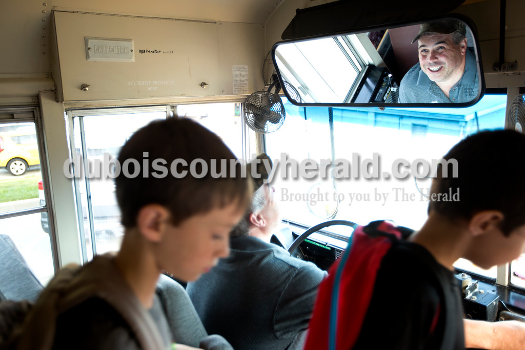 Ariana van den Akker/The Herald<br /> Jason Braunecker of Dubois, wished the Dubois Elementary students on his school bus good luck as he dropped them off on the first day of the school year on Friday morning.