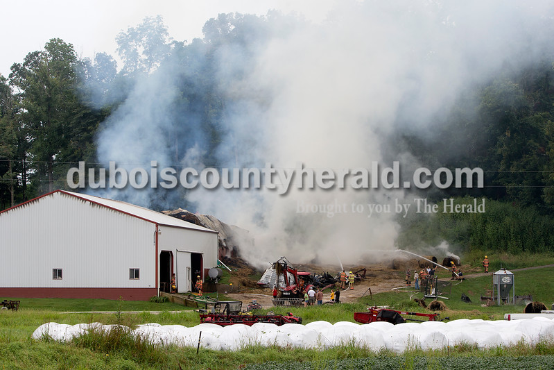 The St. Anthony Volunteer Fire Department was called just after 6:30 a.m. today to the report of a fully involved barn fire  near the Steven and Starla Rothgerber home at 5701 S. 600E near Kyana. The department was assisted by units from Schnellville and Ferdinand. Dave Weatherwax/The Herald