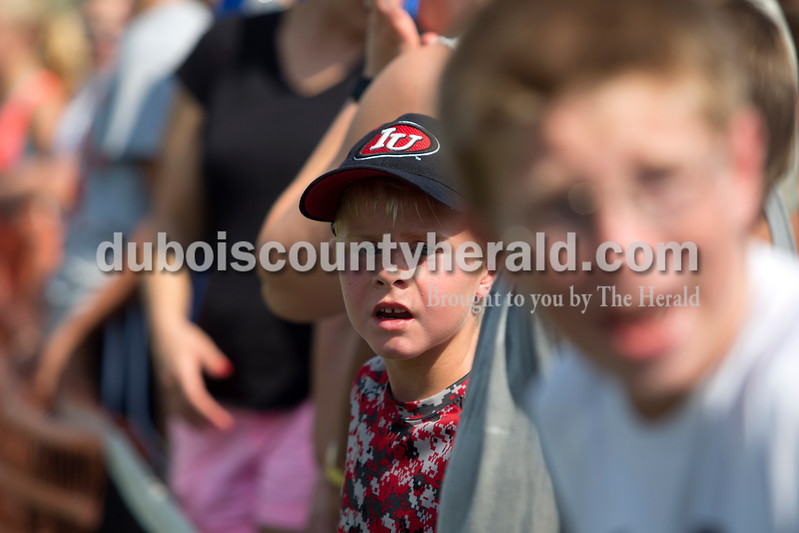 Erica Lafser/The Herald<br /> Kamdon Partenheimer of Ferdinand, 7, looked with the audience at the referees of the dodgeball games, in shock of one of their calls on Saturday during the St. Anthony Fest on the tennis courts  at St. Anthony Community Center in St. Anthony.
