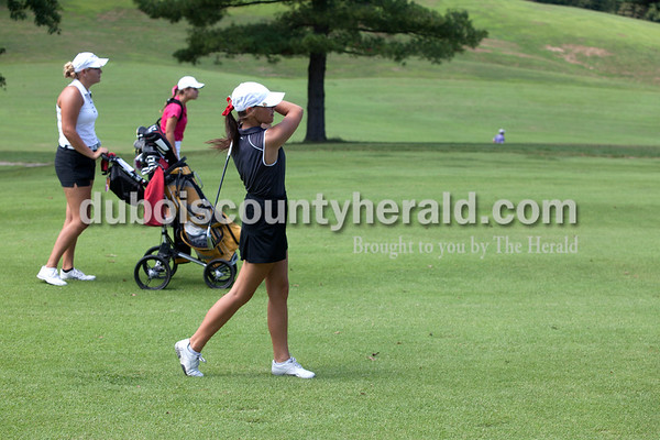 Erica Lafser/The Herald Southridge's Olivia Mundy teed off during the Wildcat Invitational at Buffalo Trace Golf Course in Jasper on Saturday.