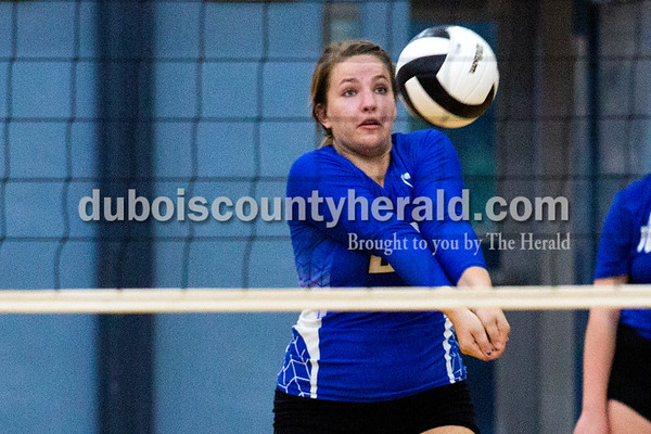Northeast Dubois' Elizabeth Huebner bumped the ball during Thursday's match against North Knox at the Northeast Dubois gym. The Jeeps lost 25-16, 22-25, 25-12, 25-15.  Alisha Jucevic/The Herald