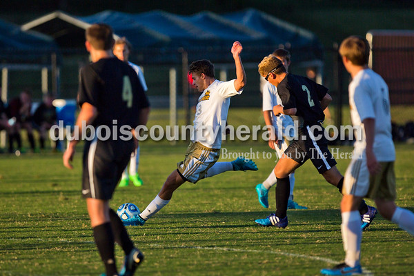 Jasper's Noah Farmer wound up for a kick during Monday night's game in Jasper. The shot was successful, gaining the first of 4 points for the Wildcats. The Wildcats won 4-0. Alisha Jucevic/The Herald
