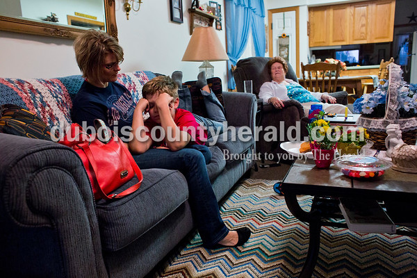 Dakota rested on the lap of his mother, Tara Roach, after a long evening at Northwood's volunteer appreciation banquet April 8. Dakota attended the banquet with his grandmother, Delphia Sendelweck.