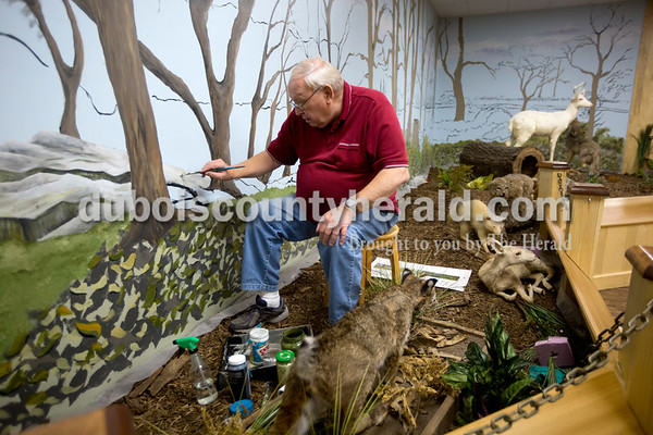Ariana van den Akker/The Herald Dubois County Museum volunteer Tom Schum of Jasper worked on a mural in the museum's new safari exhibit on Tuesday. Schum, a retired Jasper High School art teacher, painted many of the murals in the museum as a volunteer.