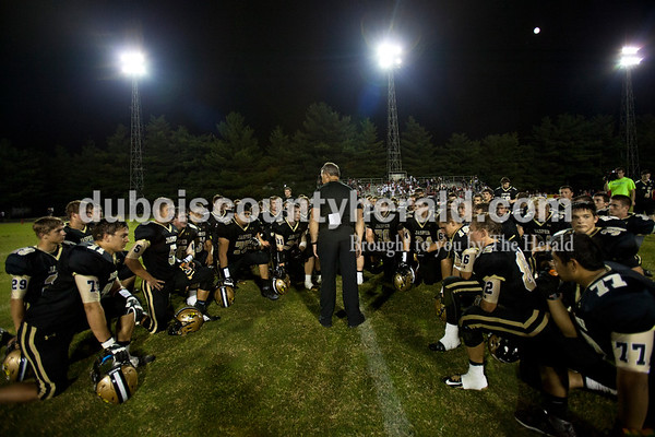 Jasper's head coach Tony Ahrens talked with his team after Friday night's game at Jerry Brewer Alumni Stadium in Jasper. The Wildcats defeated the Raiders 18-13.  Alisha Jucevic/The Herald