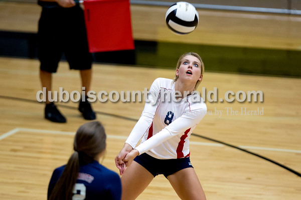 Heritage Hills' Ashley Bauer bumped the ball during Tuesday night's game against Jasper in Jasper. The Wildcats won in three sets. Ariana van den Akker/The Herald