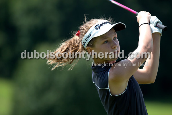 Erica Lafser/The Herald Southridge's Dalie Wibbeler teed off during the Wildcat Invitational at Buffalo Trace Golf Course in Jasper on Saturday.