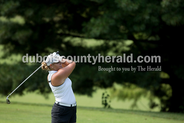 Erica Lafser/The Herald Forest Park's Hannah Schuler launched a drive during the Wildcat Invitational at Buffalo Trace Golf Course in Jasper on Saturday.
