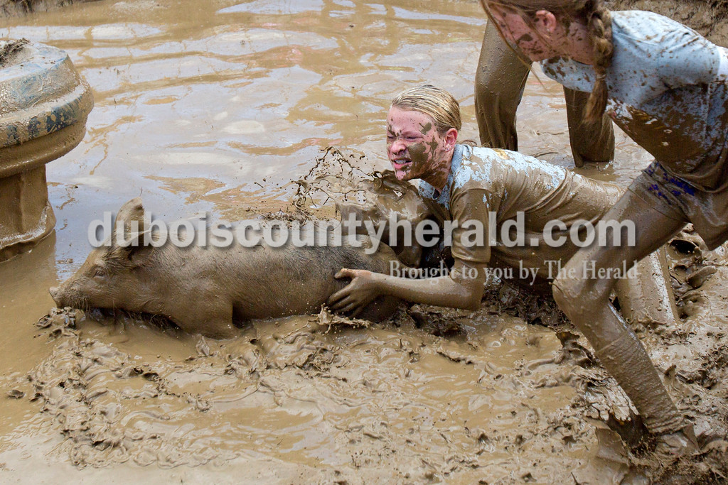 Alisha Jucevic/The Herald<br /> <br /> Macey Bolin of Santa Claus, 11, scrambled with the pig as she tried to grab ahold of it during the Dale Fall Festival's annual hog wrestling contest Saturday. About 20 teams competed in the event.