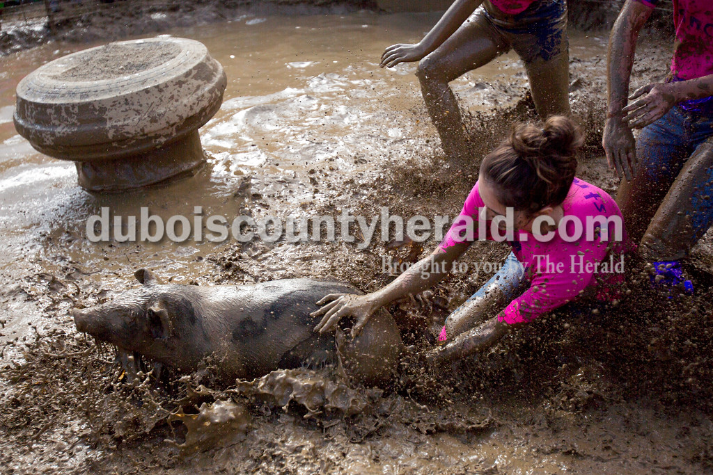 Alisha Jucevic/The Herald<br /> Cassidy Stiles of Santa Claus, 16, dove for the hog as it slipped away during the Dale Fall Festival's annual hog wrestling contest Saturday.