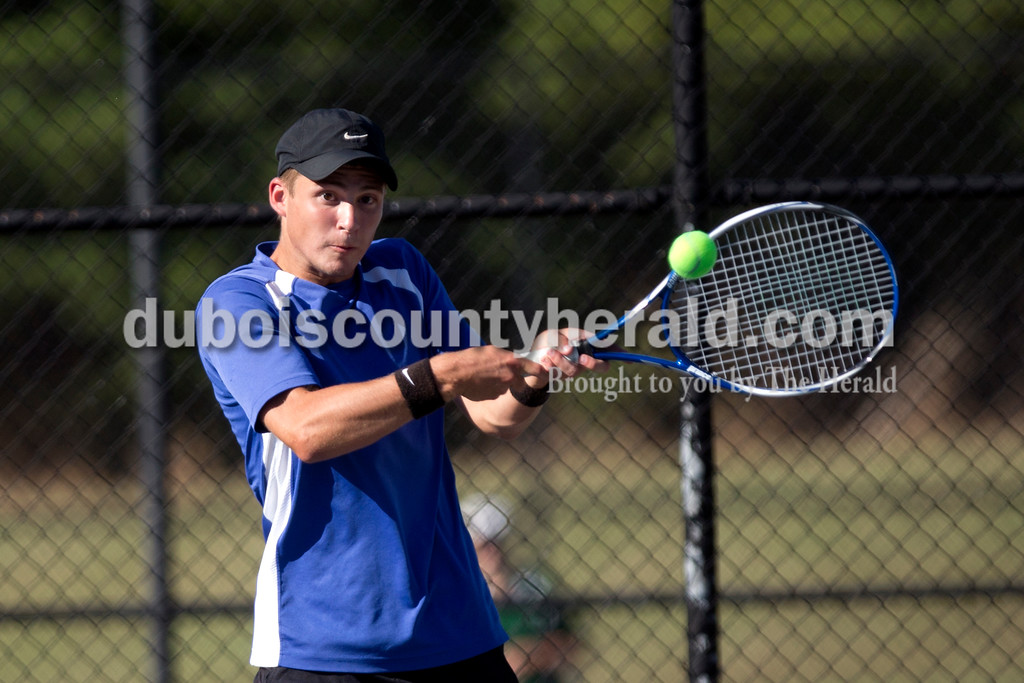 Northeast Dubois' Cayden Knies kept his eye on the ball during Tuesday afternoon's match against Forest Park in Dubois. The Jeeps won 4-1. Ariana van den Akker/The Herald