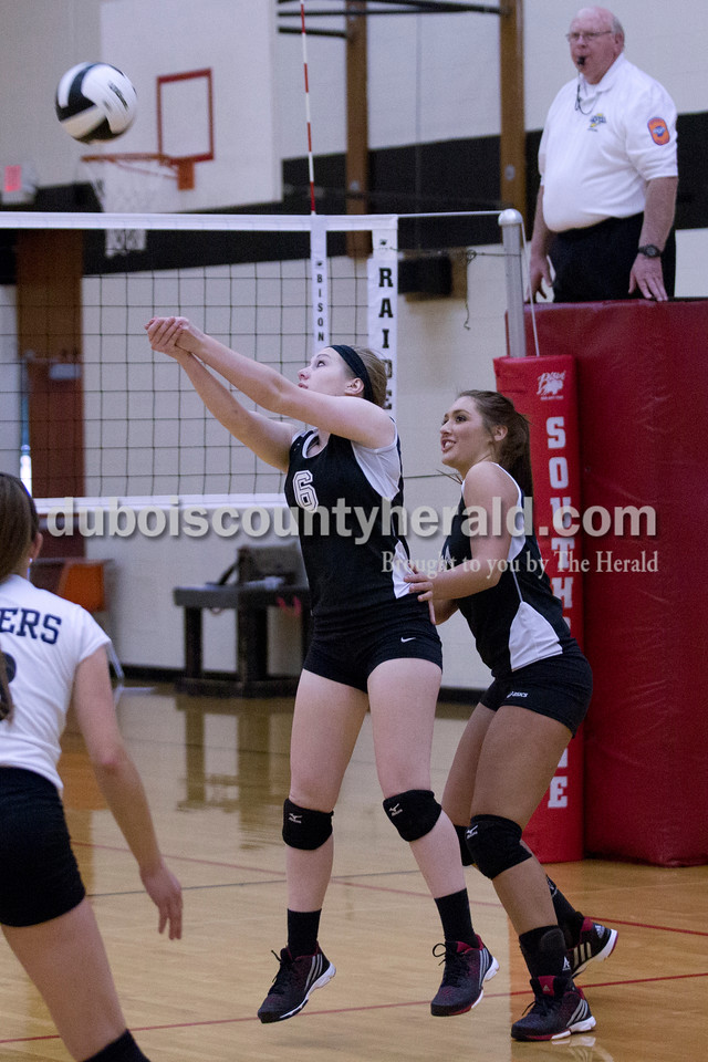 Southridge's Grace Kappner bumped the ball during Monday night's match against Forest Park at Southridge High School in Huntingburg. The Raiders defeated the Rangers in three sets. <br /> Alisha Jucevic/The Herald