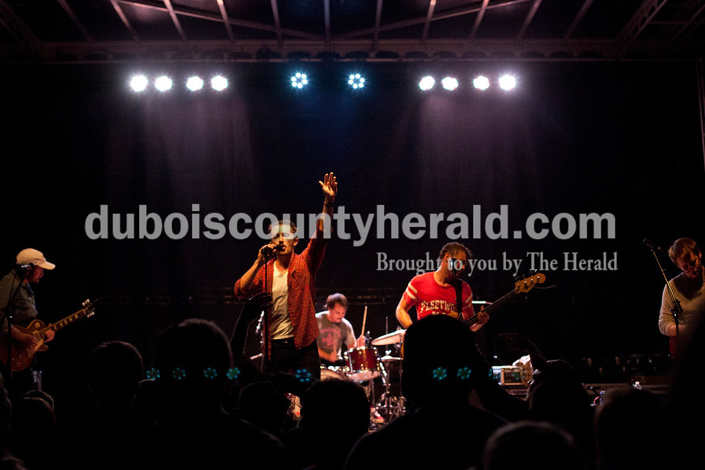 Erica Lafser/The Herald<br /> The Black Cadillacs, from left to right, Matthew Hyrka, Will Horton, Adam Bonomo, Philip Anderson, and John Phillips, closed out the Ferdinand Folk Festival on Saturday at 18th Street Park in Ferdinand.