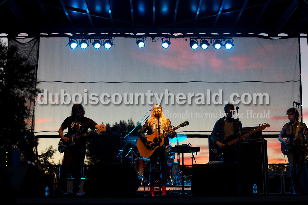 Erica Lafser/The Herald<br /> Elizabeth Cook and band headlined the Ferdinand Folk Festival on Saturday at 18th Street Park in Ferdinand.
