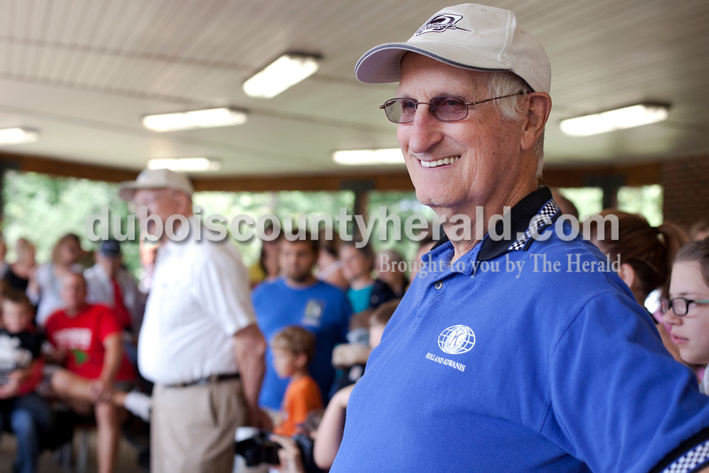 Erica Lafser/The Herald<br /> Jerry Humefeld of Holland volunteered to judge the first annual ice cream eating contest during the Holland Community Fest on Saturday at Holland Park in Holland.