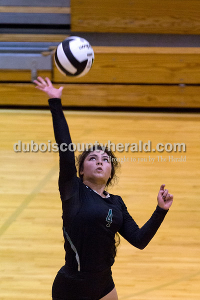 Forest Park's Katelyn Tretter jumped up to spike the ball during Monday night's game at Forest Park High School in Ferdinand. Heritage Hills won in three sets.  Alisha Jucevic/The Herald