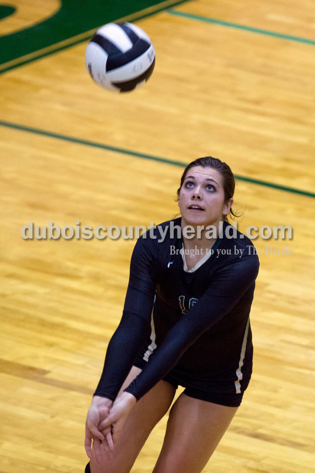 Forest Park's Karissa Wollenmann bumped the ball during Monday night's game at Forest Park High School in Ferdinand. Heritage Hills won in three sets. <br /> Alisha Jucevic/The Herald
