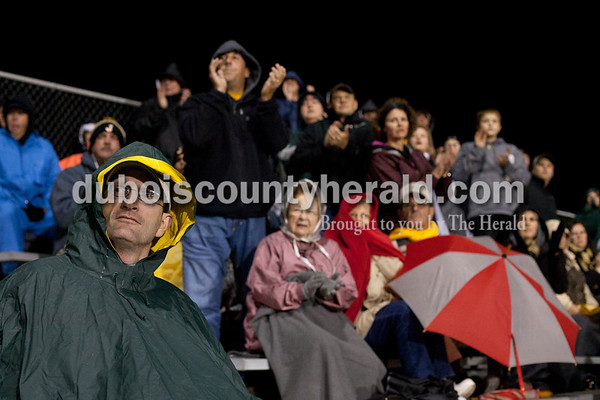 "Erica Lafser/The Herald David Eckert of Jasper watched Jasper's Friday night game against Mount Carmel in Mount Carmel. The Wildcats won 43-22. ""I'm just the biggest fan,"" Eckert said."