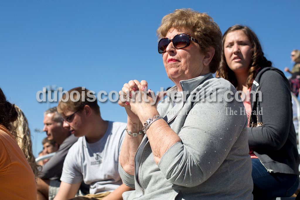 Erica Lafser/The Herald<br /> Bernita Berger of Jasper watched Jasper nervously during Saturday's close semistate against Bloomington North at Jasper. The Wildcat's won 3-2, advancing them to state finals for the fifth straight season.