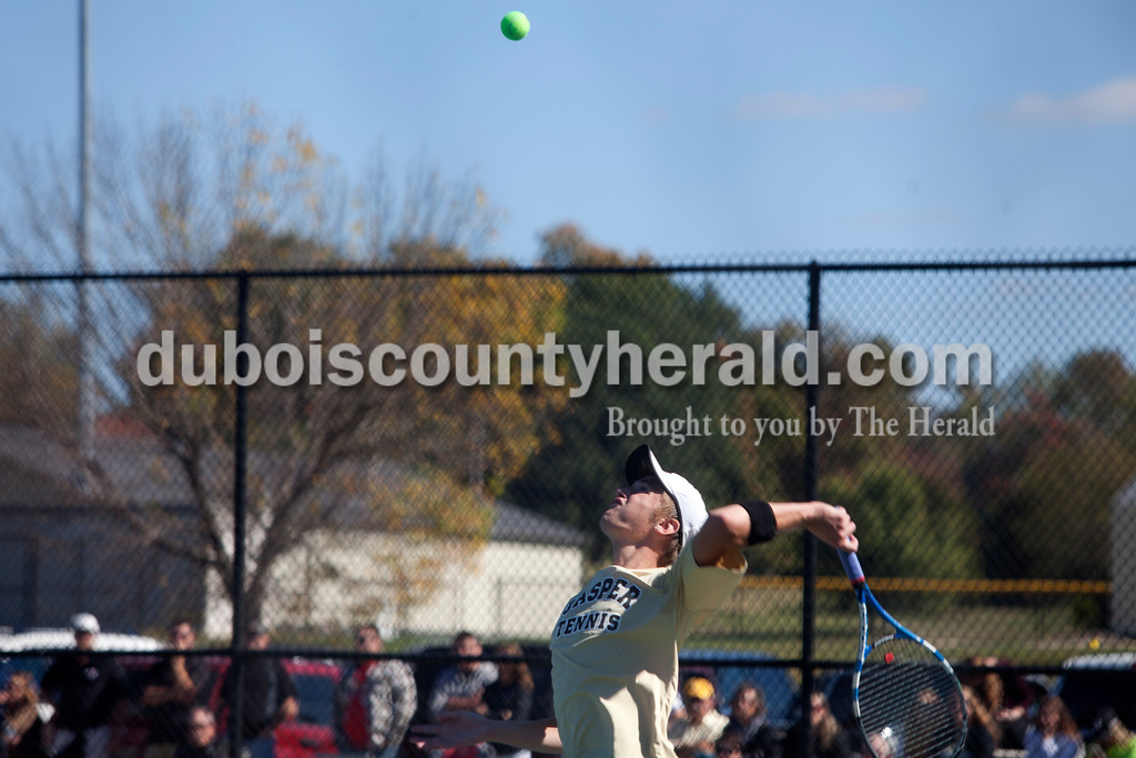 Erica Lafser/The Herald<br /> Jasper's Hudson Schmidt served the ball during Saturday's semistate against Bloomington North at Jasper. The Wildcat's won 3-2, advancing them to state finals for the fifth straight season.