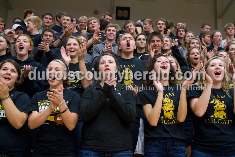 Erica Lafser/The Herald<br /> Jasper's student section cheered for their volleyball team during Tuesday night's Class 3A regional championship against Mount Vernon at Jasper High School. The Wildcat's won in three games.