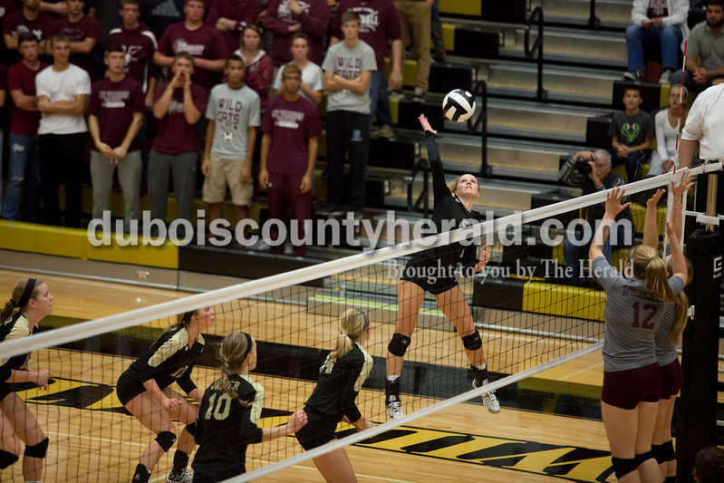 Erica Lafser/The Herald<br /> Jasper's Michala Flamion spiked the ball during Tuesday night's Class 3A regional championship against Mount Vernon at Jasper High School. The Wildcat's won in three games.