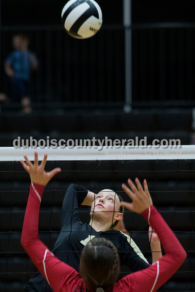 Jasper's Avery Bell prepared to spike the ball during Saturday night's Class 3A sectional championship against Princeton in Jasper. The Wildcats won, claiming their fifth straight Class 3A sectional title. The Wildcats will face Mount Vernon on Tuesday at 7:30 p.m. in the regional championship at Jasper High School.<br /> Alisha Jucevic/The Herald